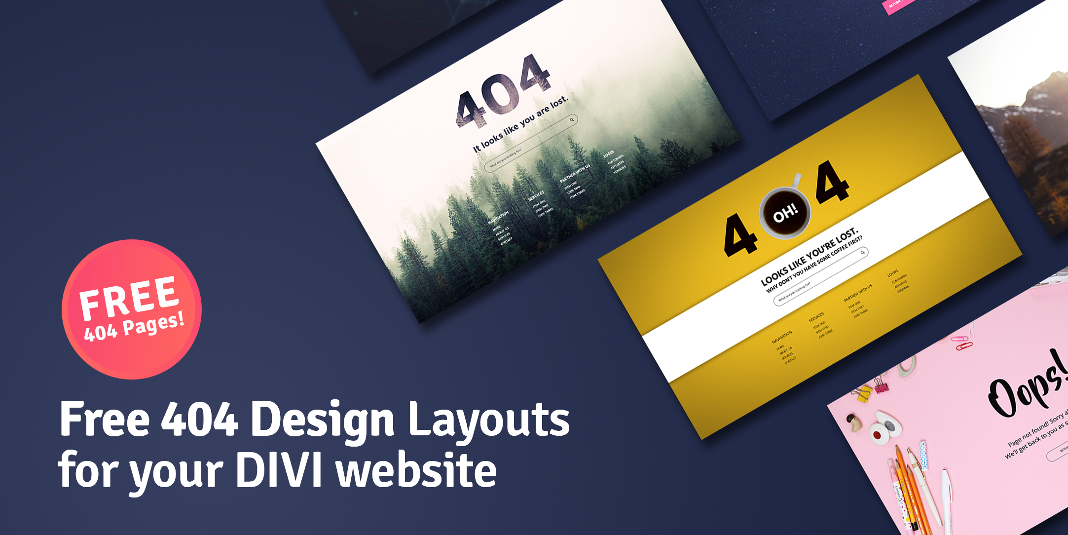 Free 404 Design Layouts for your Elementor website