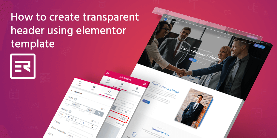 How to Create Transparent Header using Elementor Template