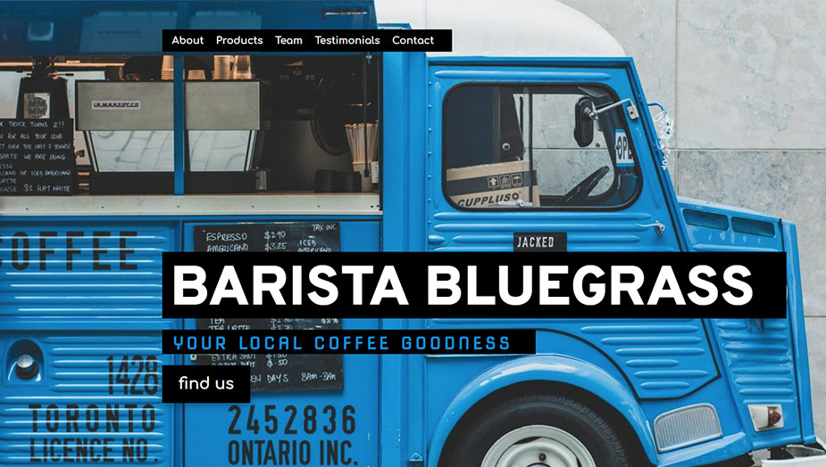 barista, coffee shop, bar and cafe website elementor template this 2019
