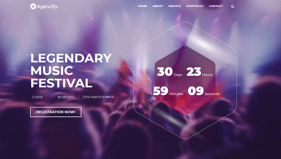 Music concert ticket website elementor template this 2019