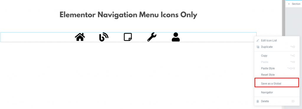Elementor Navigation Menu Icons Only5